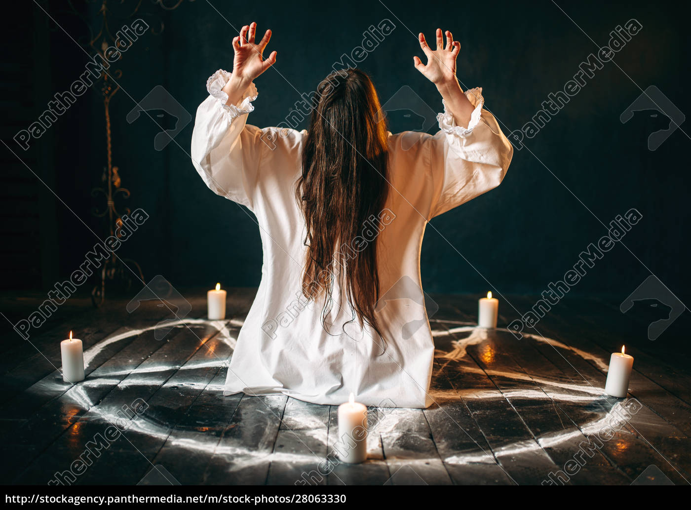 witch, produces, occult, ritual, in, pentagram - 28063330