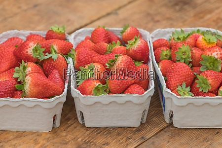 three strawberry market baskets with delicious