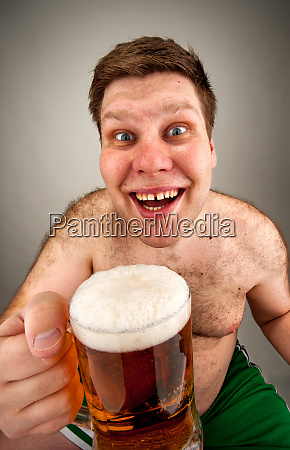 funny fat man with glass of