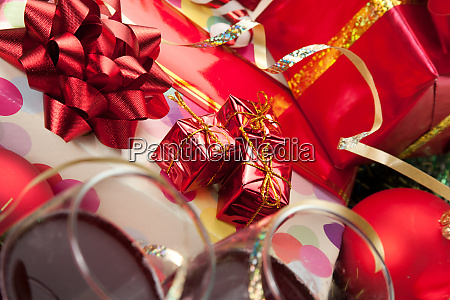 holiday gifts and wine glasses