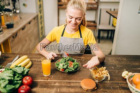 female person choose healthy bio food
