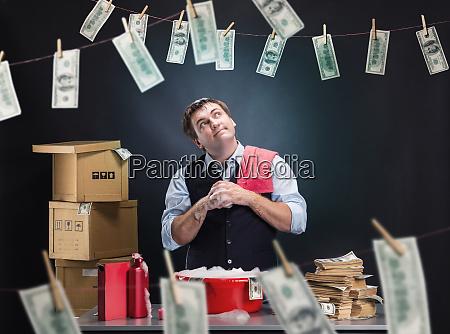 glad businessman is laundering money