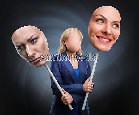 businesswoman choosing humor