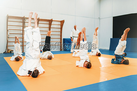 children karate kids practice martial art