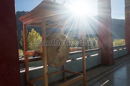huge buddhist dharma drum in morning