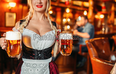 sexy waitress with large breasts in