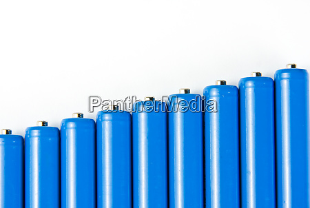 row of blue batteries