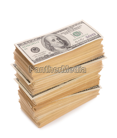 stack of dollars banknotes isolated on