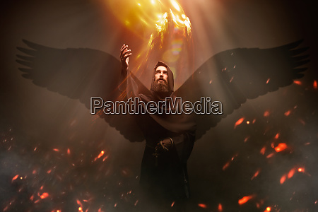 medieval monk with wings mystery and
