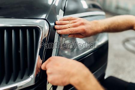 auto detailing of car headlights carwash