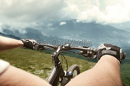 cyclist in mountains