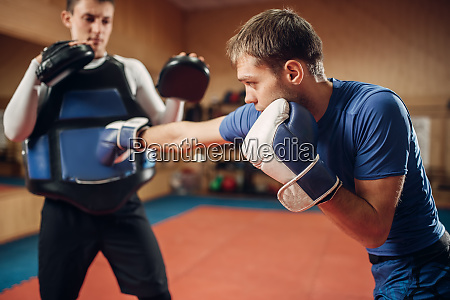 male kickboxer in gloves practicing hand