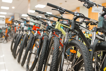 rows of mountain bicycles in sports