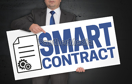 smart contract poster is held by