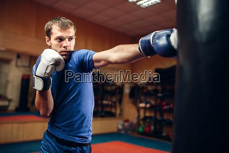 male kickboxer hits the punching bag
