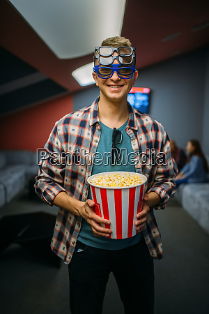 male spectator in 3d glasses cinema