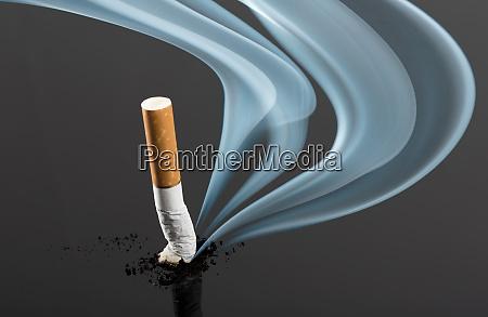 cigarette butt with curve fume