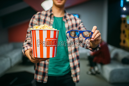 male spectator with 3d glasses and
