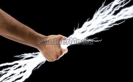 lightning bolts in hand