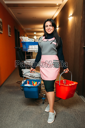 housemaid holds cleaning equipment in hands