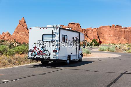 camper on asphalt road