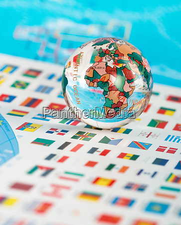 glass globe on the flags
