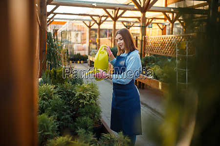 saleswoman with watering can shop for