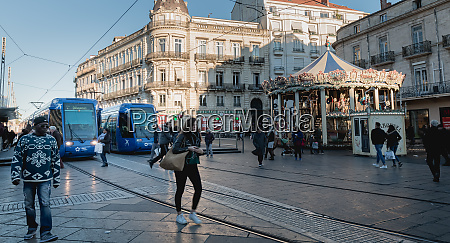 electric tram stopped at place de