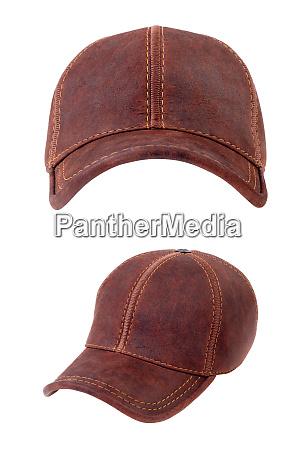 brown leather baseball caps