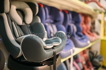 child car seats variety on shelf
