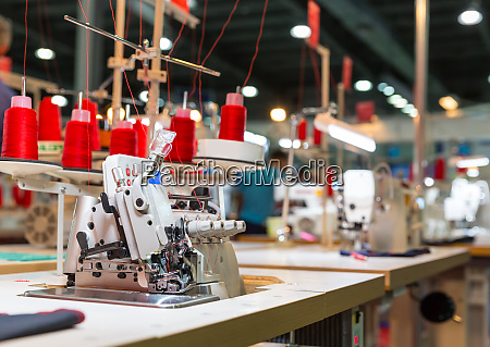 overlock machine on sewing factory nobody