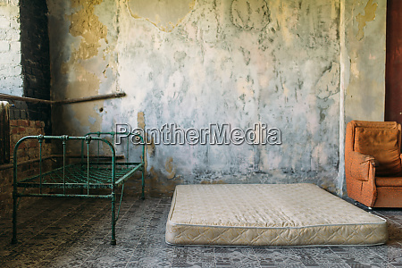 drug addict room in grunge abandoned