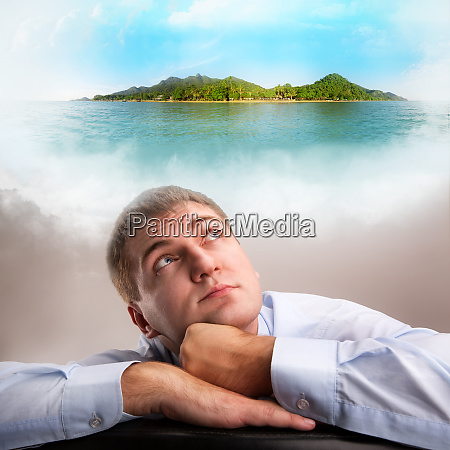 daydreaming office worker