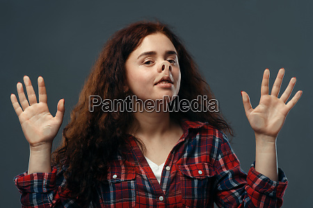 womans funny face crushed on transparent