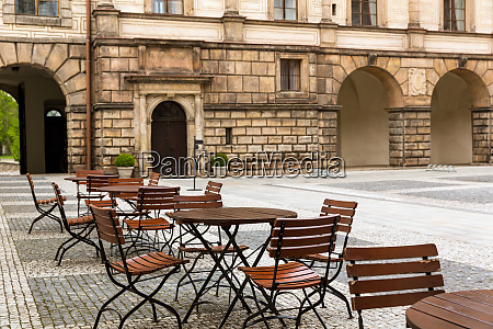 ancient stone castle with coffee tables