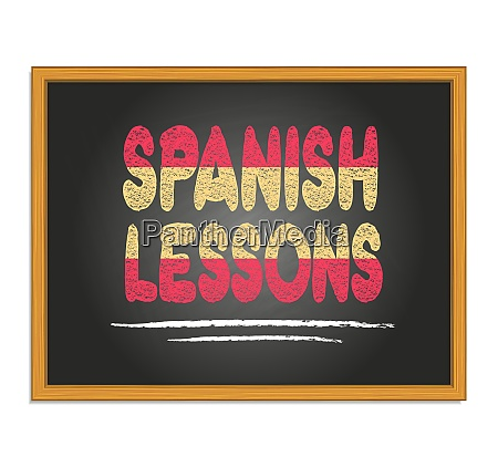 spanish lessons chalk lettering on black