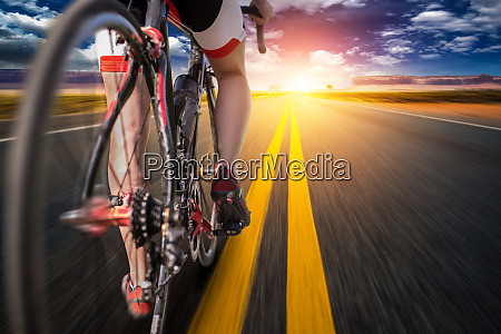 cyclist on bike path view from