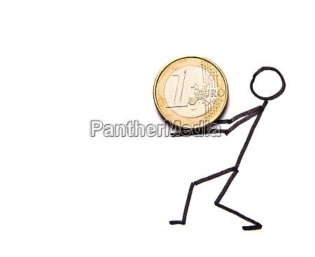 drawn, businessman, with, money - 28082704