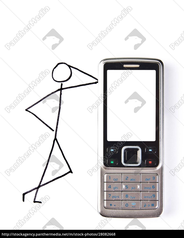 drawn, man, with, phone - 28082668