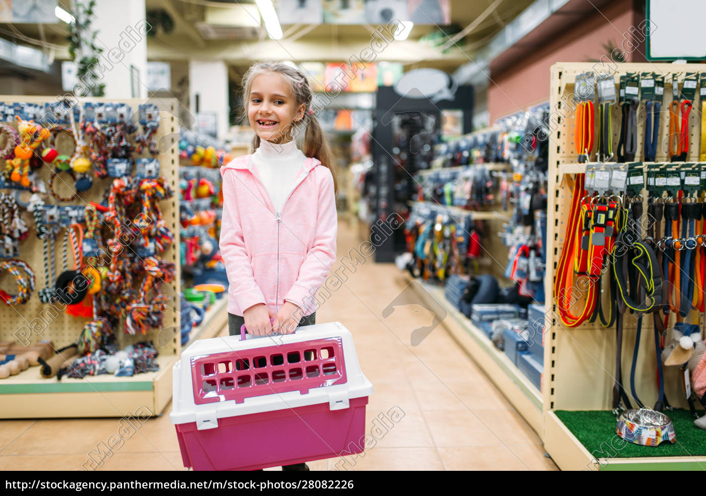 happy, little, girl, with, carrier, for - 28082226