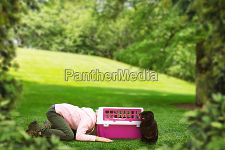 little, girl, plays, with, carrier, for - 28082246