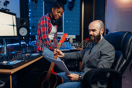 male, and, female, musicians, , sound, recording - 28082778