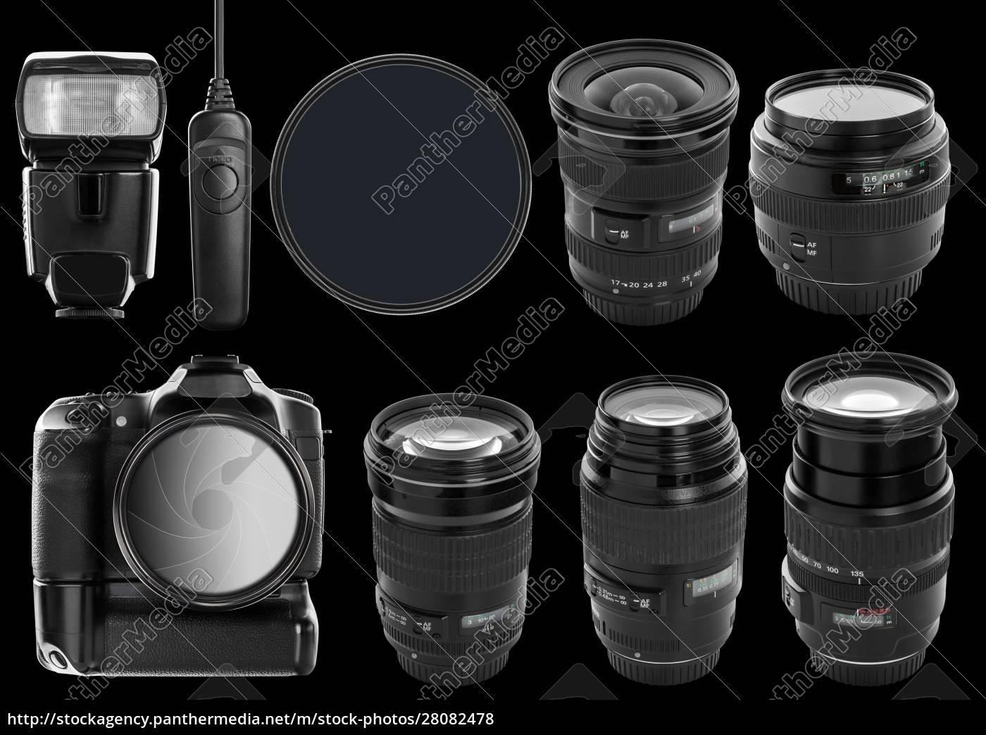 set, of, digital, camera, and, lenses - 28082478