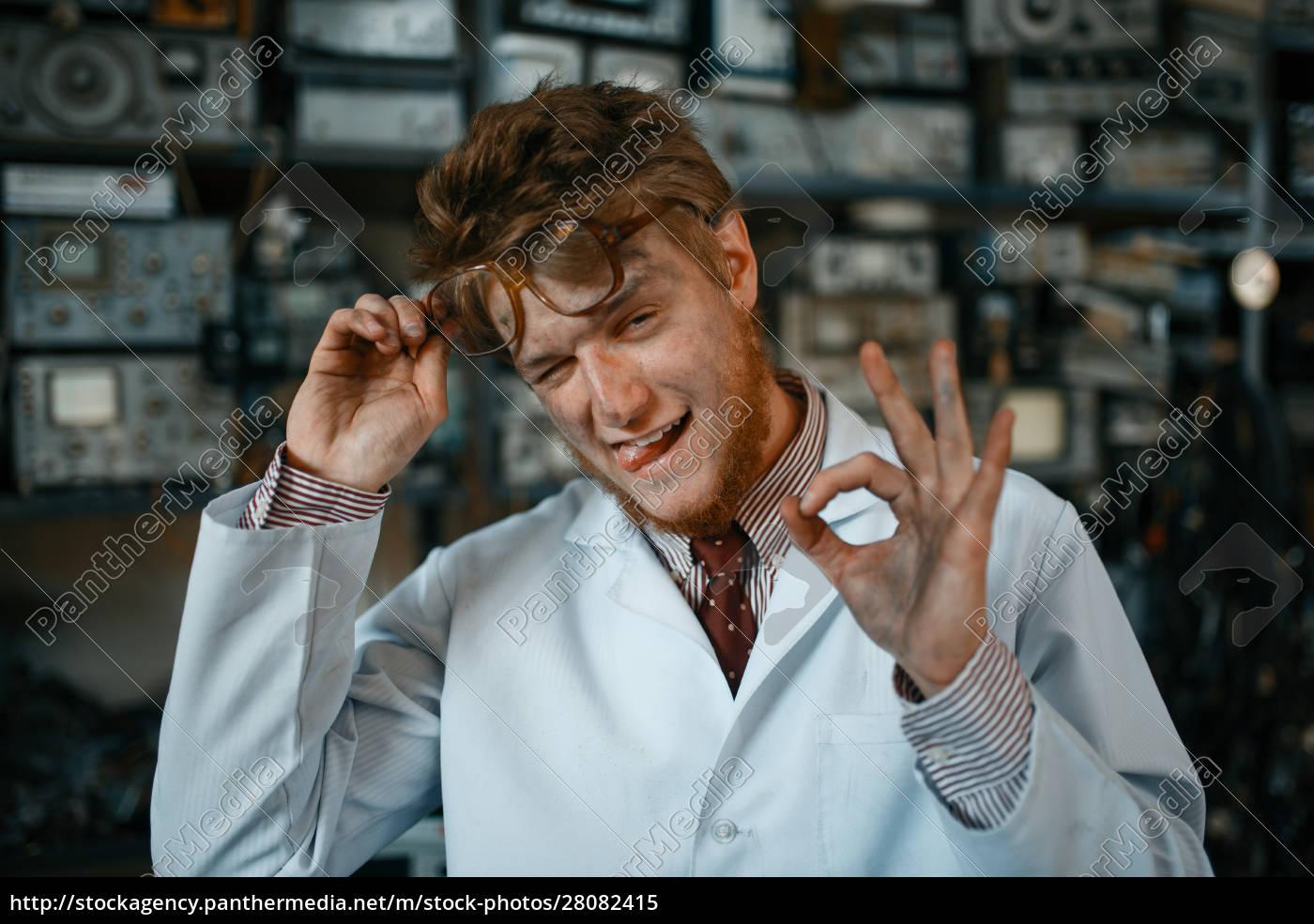 strange, male, scientist, shows, ok, sign - 28082415