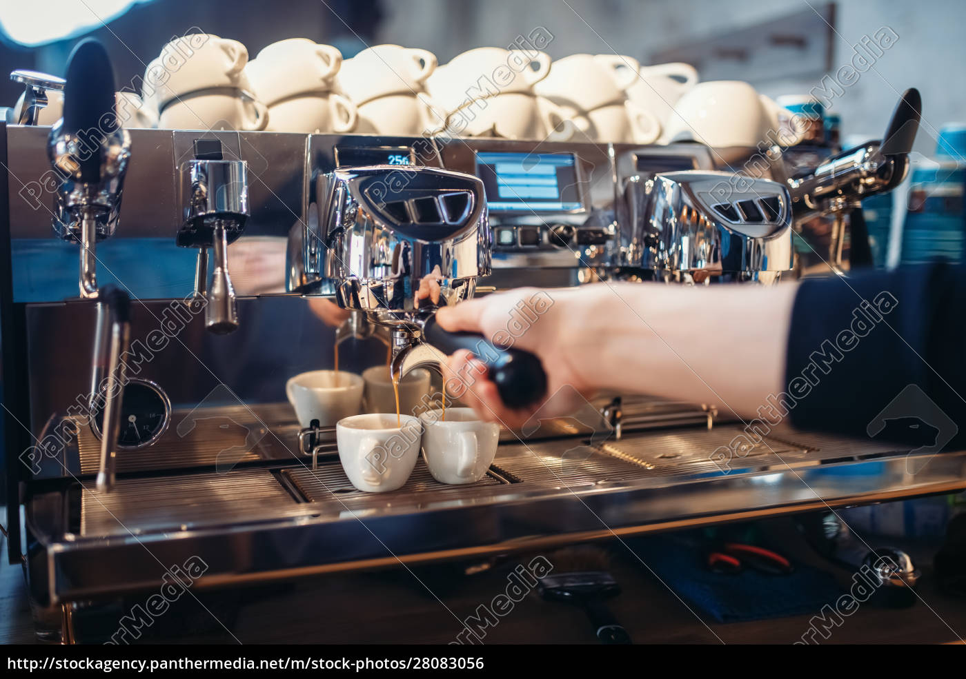 barista, hand, pours, beverage, from, coffee - 28083056