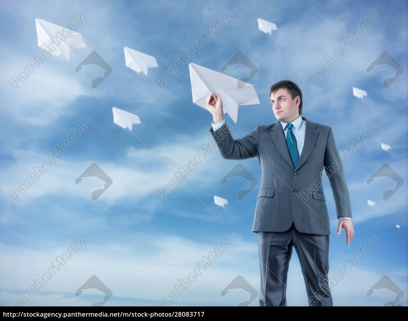 businessman, with, paper, plane, and, goggles - 28083717
