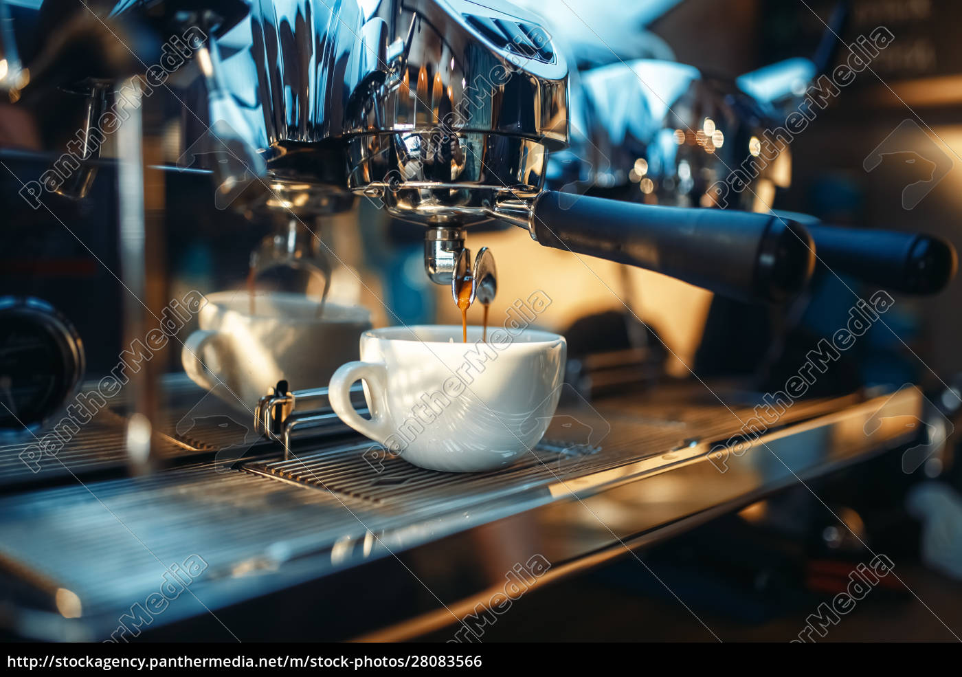 espresso, machine, pours, fresh, black, coffee - 28083566