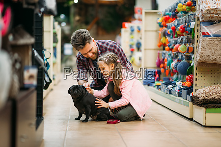 father, and, dauther, plays, with, puppy - 28083404