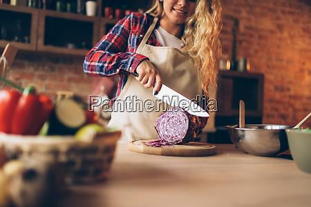 female, cook, in, apron, cutting, fresh - 28083902