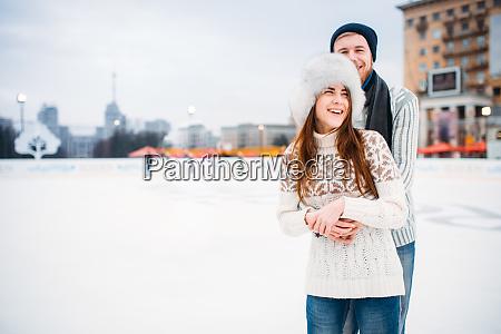 happy, love, couple, hugs, on, skating - 28083534